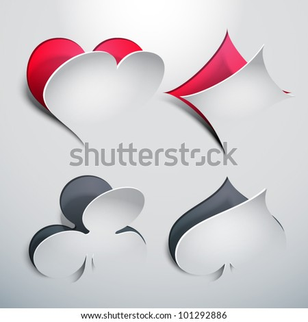 Vector Peeled Off Poker Signs - stock vector
