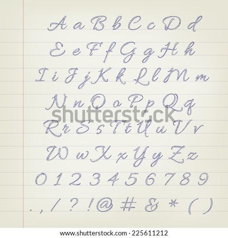 Vector pen sketched alphabet - stock vector