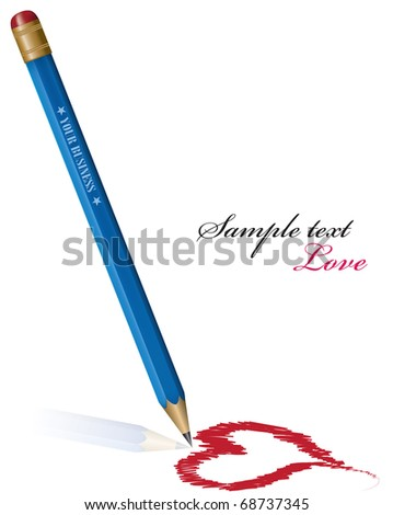 Vector Pencil drawing heart. eps 10 - stock vector