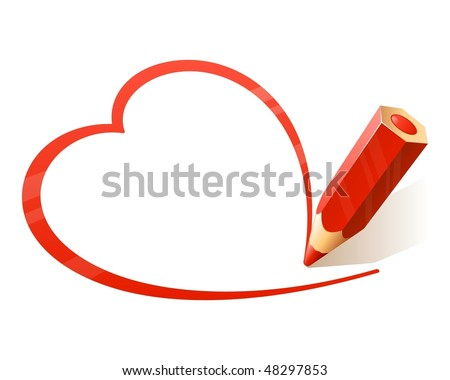 Vector Pencil drawing heart. See my portfolio for more pencils. - stock vector