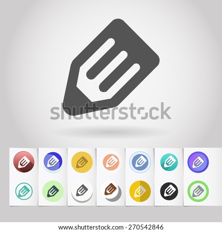 "Vector pencil ""edit"" icon and big set of round flat web mobile buttons on paper background - stock vector"