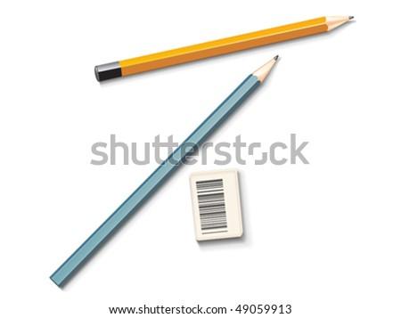 Vector pencils and eraser - stock vector
