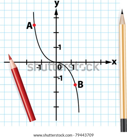 vector pencils and mathematical function graph - stock vector