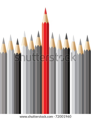 vector pencils, leadership concept - stock vector