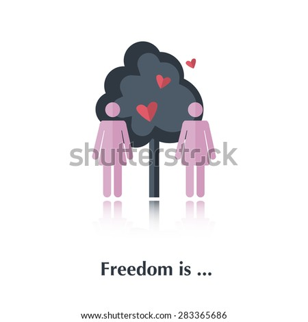 Vector people icon,pictogram.Concept free relationships,lesbians,pink,tree,red heart ,over white with text Freedom is,in flat stile - stock vector