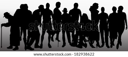 Vector people silhouette on a gray background. - stock vector