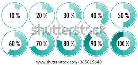 Vector percentage indicators from 10 to 100 %