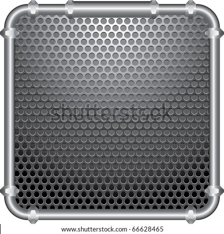 vector perforated plate with frame of the metal pipes - stock vector