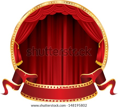 vector perforated red blank banner on circle stage with red curtain - stock vector