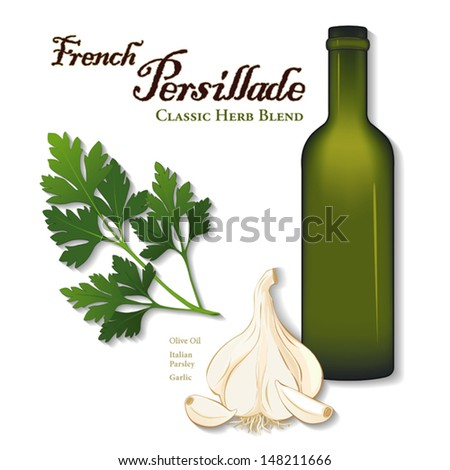 vector - Persillade, classic French herb sauce: flat leaf parsley, garlic, olive oil. Also Greek, Creole, New Orleans cuisines. See other herbs and spices in this series. EPS8 includes gradient mesh. - stock vector