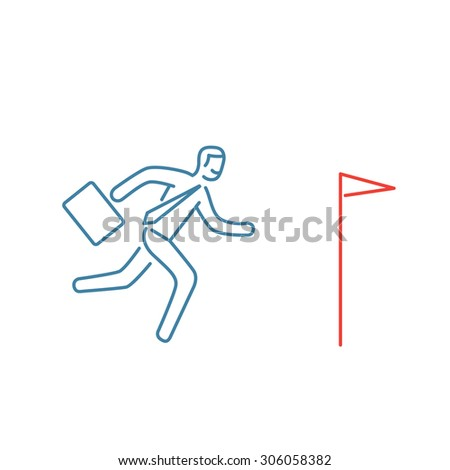 Vector persistence and perseverance skills icon of businessman running to his goal flag | modern flat design soft skills linear illustration and infographic red and blue on white background