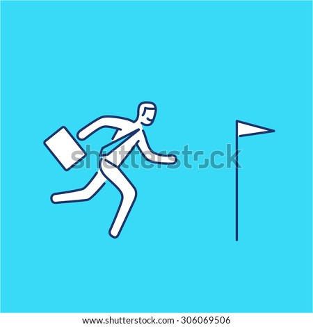 Vector persistence and perseverance skills icon of businessman running to his goal flag | modern flat design soft skills linear illustration and infographic on blue background - stock vector