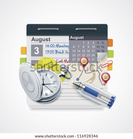 Vector personal organizer icon. Includes notepad with calendar, pocket watch, pen, sticky note and map - stock vector