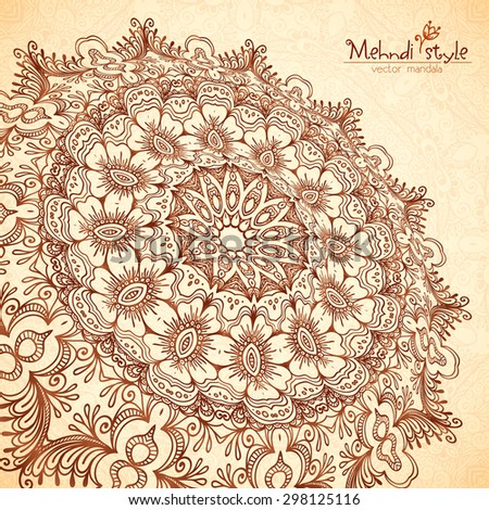 Vector perspective mehndi floral mandala in henna tattoo style - stock vector
