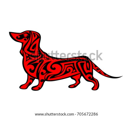 Vector pet Dog  logo, icon, print isolated on white background. Year of dog symbol 2018. Abstract black and red dog silhouette