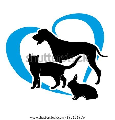 vector pets on a blue heart - stock vector