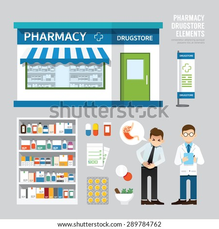 Vector pharmacy drugstore set design, shop store, package, t-shirt, cap, uniform and front display design/ layout set of corporate identity mock up template. - stock vector