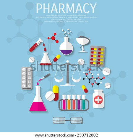 Vector pharmacy flat medical background. Eps 10. - stock vector