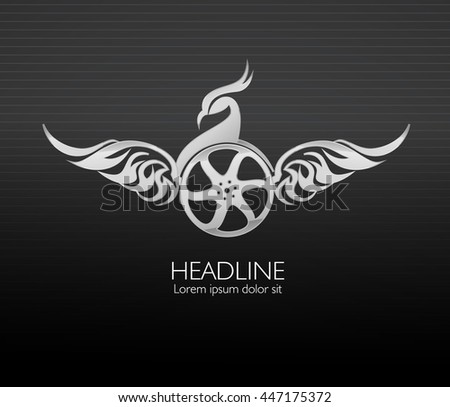 Vector phoenix,wheel and monochromatic one. Abstract emblem, design concept, logo, logotype element for template.  - stock vector