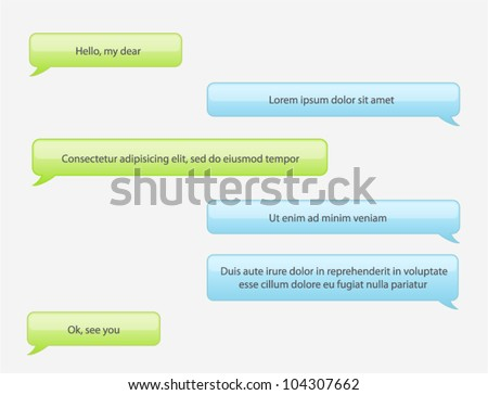 Vector phone chat bubbles in green and blue colors - stock vector