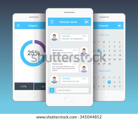 Vector phone chat interface. Sms messages. Speech bubbles. Short message service bubbles. Flat interface - stock vector