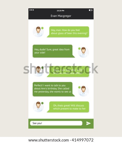 Vector phone chat interface. Sms messenger. Speech bubbles. Short message service bubbles. Flat interface - stock vector