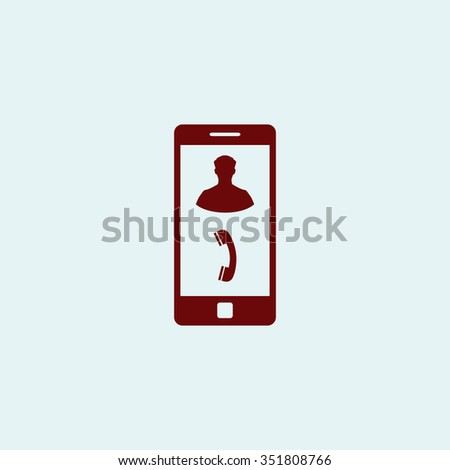 Vector Phone incoming call. Red vector icon. Simple modern illustration pictogram. Collection concept symbol for infographic project and logo - stock vector
