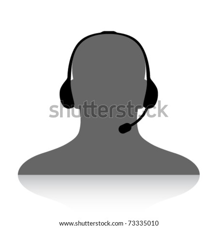 vector phone support silhouette - stock vector