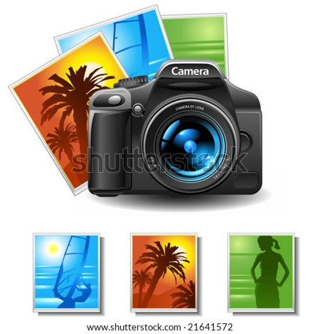 vector photo camera with 3 pictures - stock vector