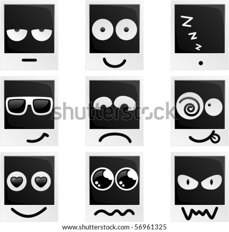 Vector Photo Frame Characters Emotions - stock vector