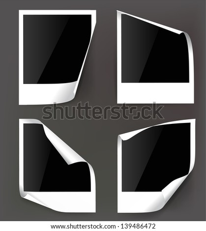 Vector photo frame on gray background. - stock vector