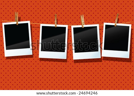 vector photo frames are hanging  in a row - stock vector