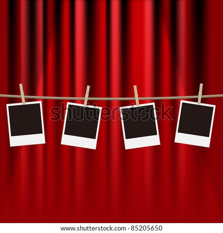 vector photo frames hanging from a clothes line on a red curtain - stock vector