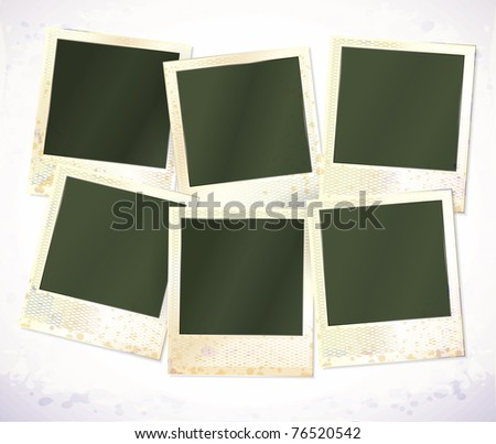 vector photo frames set of six cards - stock vector