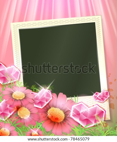 vector photo frames with crysal hearts and red flowers - stock vector
