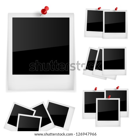 Vector Photo frames with pin isolated on white - stock vector