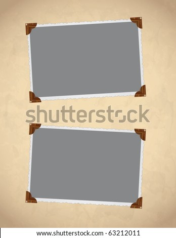 Vector photo framework on old, aged background paper. Page decoration. - stock vector