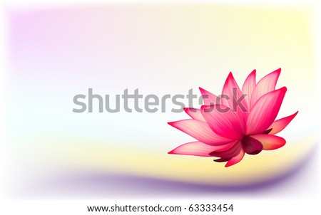 Vector photo-realistic lotus flower on abstract background - stock vector