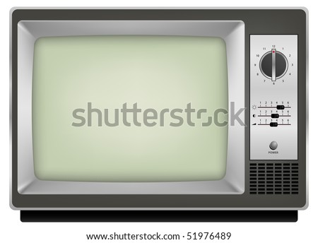 vector photo realistic vintage tv on white background - stock vector