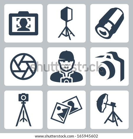Vector photographer and photo equipment icons set - stock vector