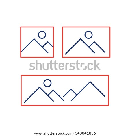 vector photography and picture canavas formats from square to panorama linear icon and infographic | illustrations of gear and equipment for photographers blue and red isolated on white background - stock vector