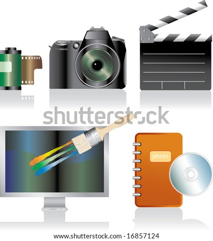 vector photorealistic icons for photo and movie - stock vector