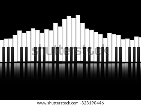 Vector : Piano keyboard equalizer concept background - stock vector