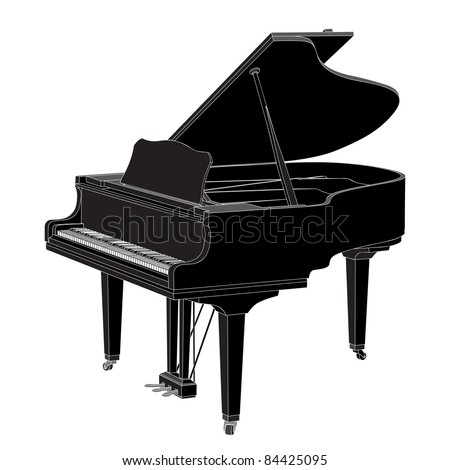 Vector piano on white background (illustration) - stock vector
