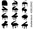 vector piano silhouette set - stock vector