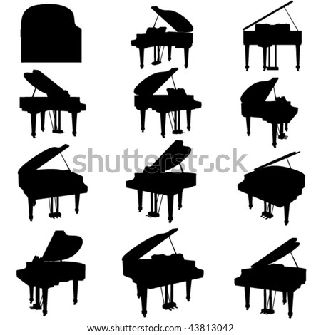 vector piano silhouette set - stock vector