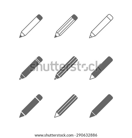 Vector pictogram Pencil icons set isolated on white. - stock vector