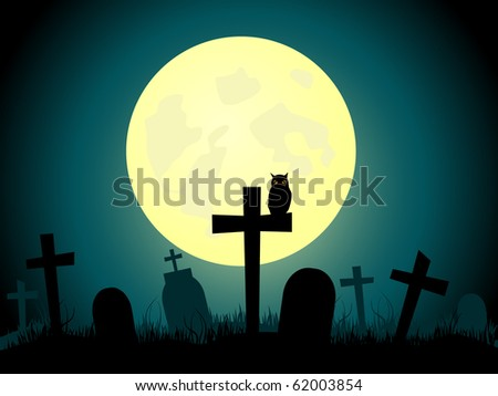 Vector picture about cemetery and full moon. - stock vector