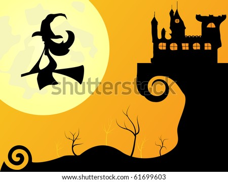 Vector picture for Halloween - moon, with and castle