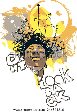 Vector picture for poster or t-shirt print with a face and grunge elements.   - stock vector